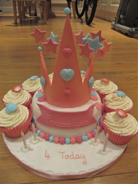 Princess Crown Cake With Jewel Cupcakes